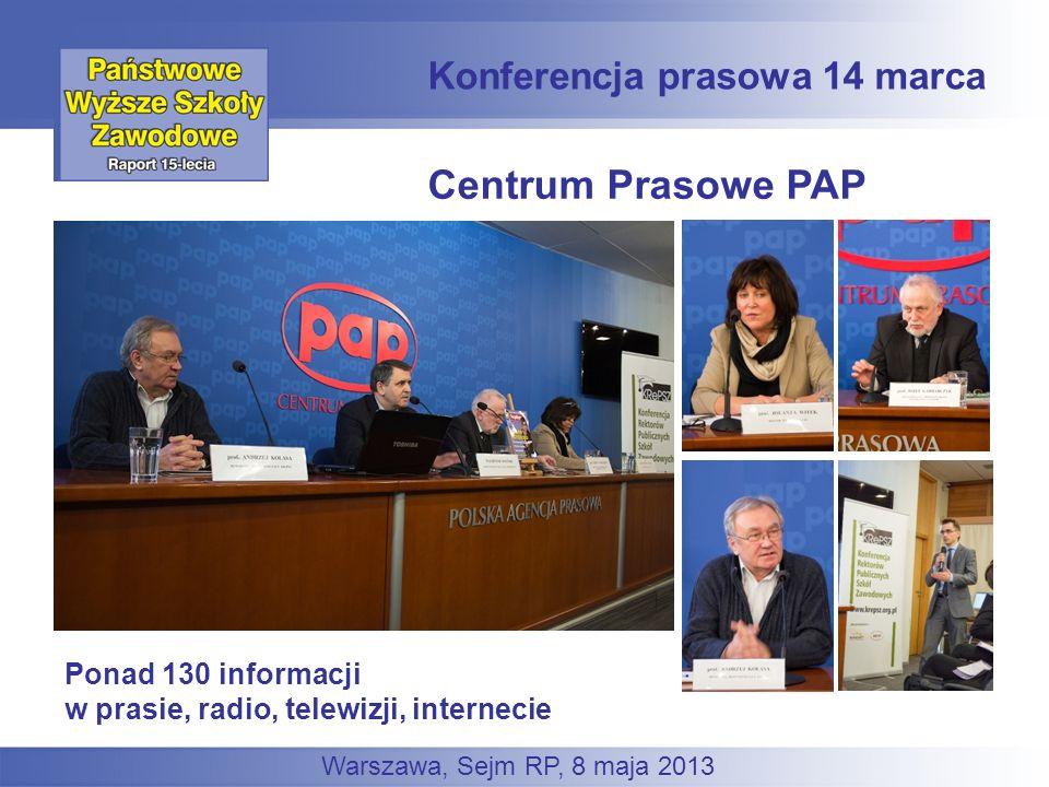 Centrum Prasowe PAP Konferencja prasowa 14 marca Warszawa, Sejm RP, 8 maja 2013 Ponad 130 informacji w prasie, radio, telewizji, internecie