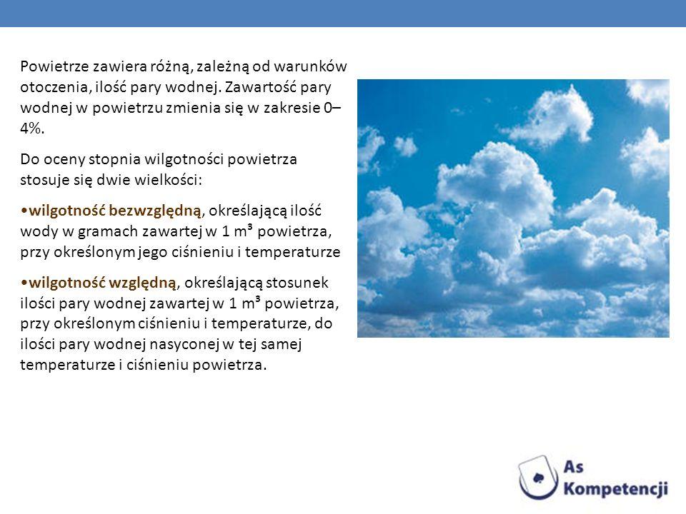 Powietrze zawiera różną, zależną od warunków otoczenia, ilość pary wodnej. Zawartość pary wodnej w powietrzu zmienia się w zakresie 0– 4%. Do oceny st