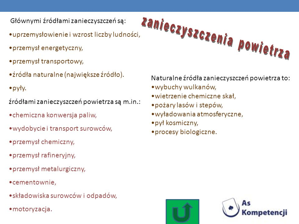 Głównymi źródłami zanieczyszczeń są: uprzemysłowienie i wzrost liczby ludności, przemysł energetyczny, przemysł transportowy, źródła naturalne (najwię