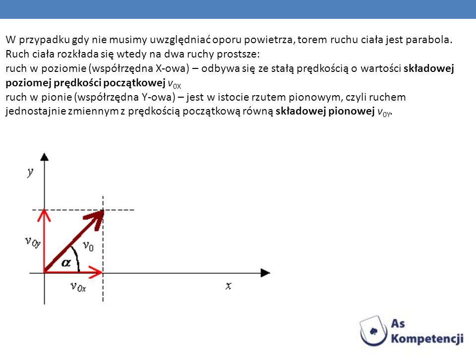 W przypadku gdy nie musimy uwzględniać oporu powietrza, torem ruchu ciała jest parabola. Ruch ciała rozkłada się wtedy na dwa ruchy prostsze: ruch w p