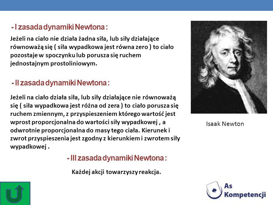 Isaak Newton - I zasada dynamiki Newtona : Jeżeli na ciało nie działa żadna siła, lub siły działające równoważą się ( siła wypadkowa jest równa zero )