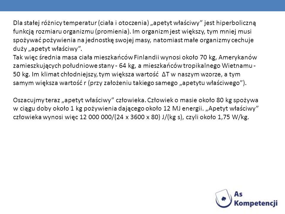 Dla stałej różnicy temperatur (ciała i otoczenia) apetyt właściwy jest hiperboliczną funkcją rozmiaru organizmu (promienia). Im organizm jest większy,