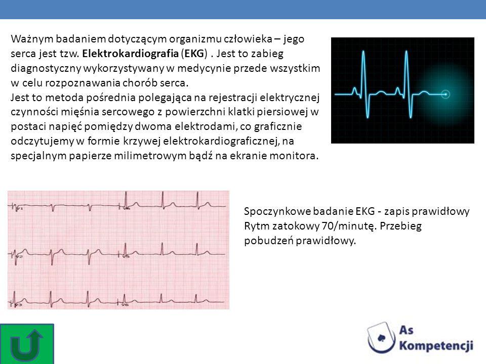 Spoczynkowe badanie EKG - zapis prawidłowy Rytm zatokowy 70/minutę. Przebieg pobudzeń prawidłowy. Ważnym badaniem dotyczącym organizmu człowieka – jeg