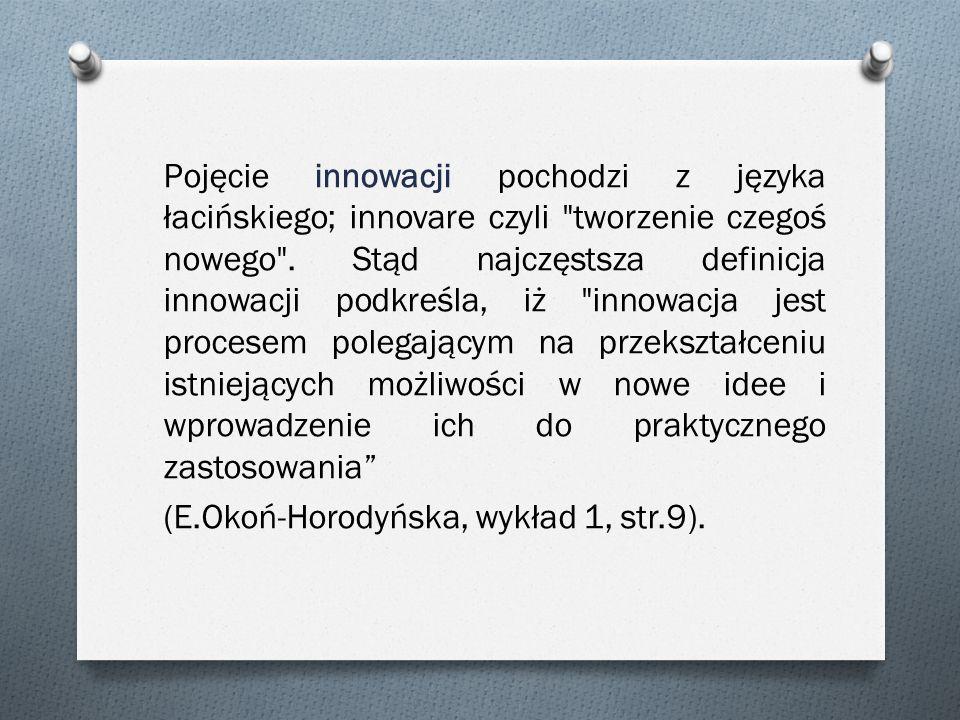 Pojęcie innowacji pochodzi z języka łacińskiego; innovare czyli
