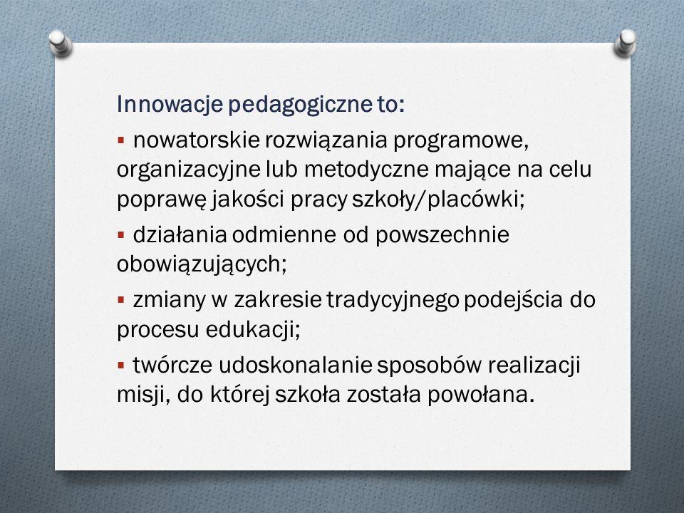 Innowacje pedagogiczne to: nowatorskie rozwiązania programowe, organizacyjne lub metodyczne mające na celu poprawę jakości pracy szkoły/placówki; dzia