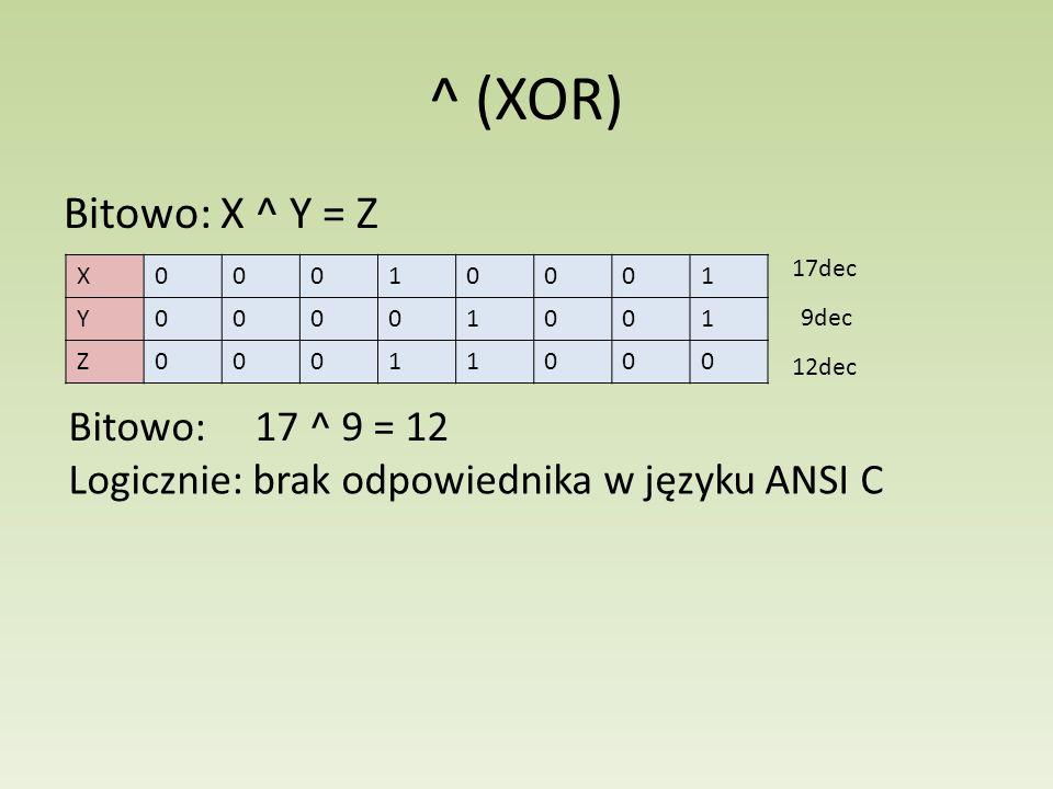 ^ (XOR) Bitowo: X ^ Y = Z X00010001 Y00001001 Z00011000 17dec 9dec 12dec Bitowo: 17 ^ 9 = 12 Logicznie: brak odpowiednika w języku ANSI C