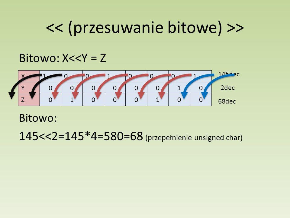 > Bitowo: X<<Y = Z X10010001 Y00000010 Z01000100 145dec 2dec 68dec Bitowo: 145<<2=145*4=580=68 (przepełnienie unsigned char)