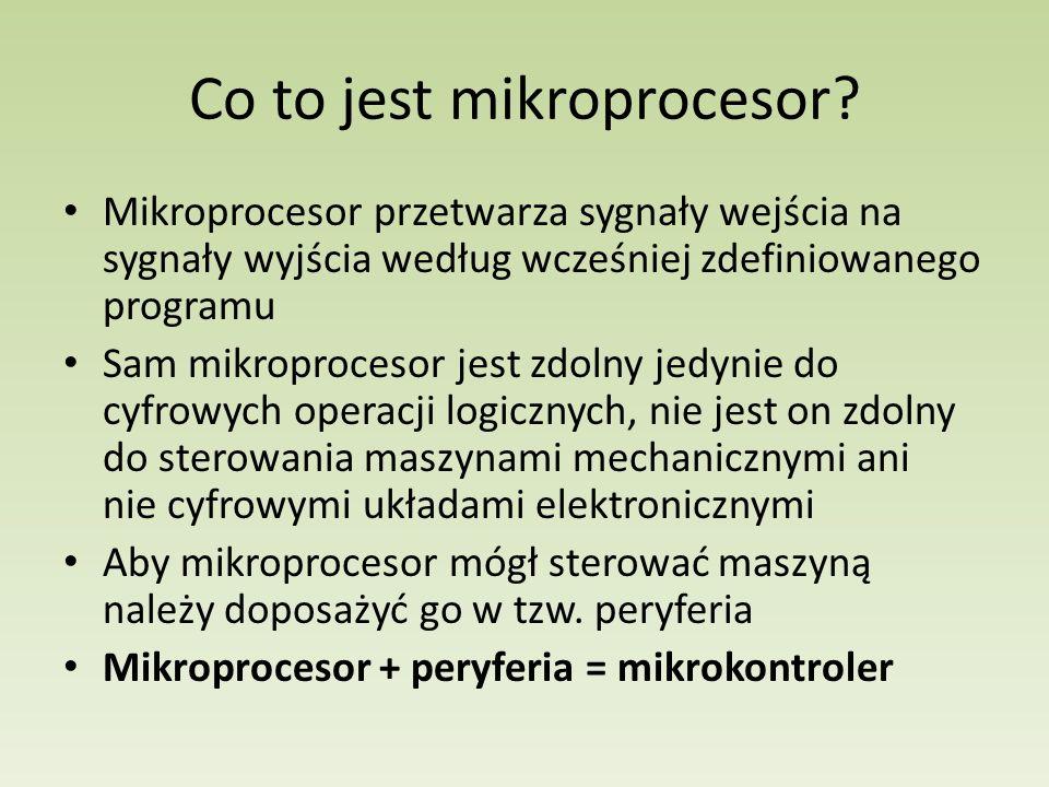 Mikroprocesor przetwarza sygnały wejścia na sygnały wyjścia według wcześniej zdefiniowanego programu Sam mikroprocesor jest zdolny jedynie do cyfrowyc
