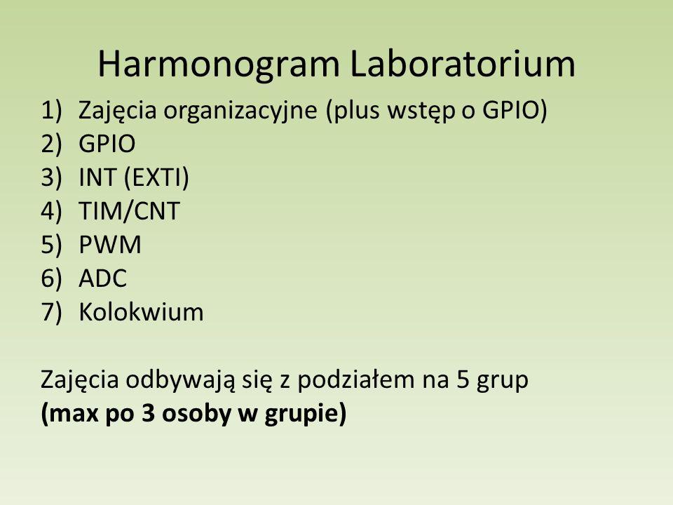 Harmonogram Laboratorium 1)Zajęcia organizacyjne (plus wstęp o GPIO) 2)GPIO 3)INT (EXTI) 4)TIM/CNT 5)PWM 6)ADC 7)Kolokwium Zajęcia odbywają się z podz