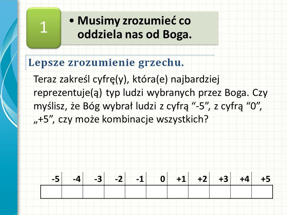 Teraz zakreśl cyfrę(y), która(e) najbardziej reprezentuje(ą) typ ludzi wybranych przez Boga.