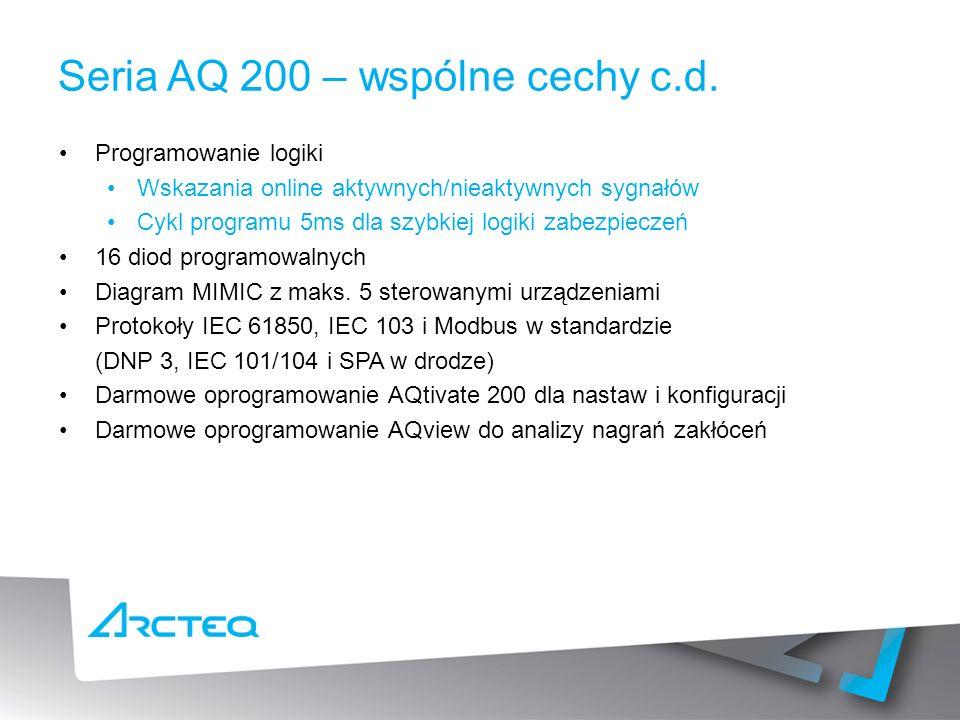 Seria AQ 200 – wspólne cechy c.d.