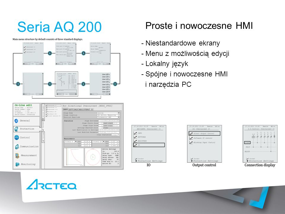 Seria AQ 200 Proste i nowoczesne HMI - Niestandardowe ekrany - Menu z możliwością edycji - Lokalny język - Spójne i nowoczesne HMI i narzędzia PC