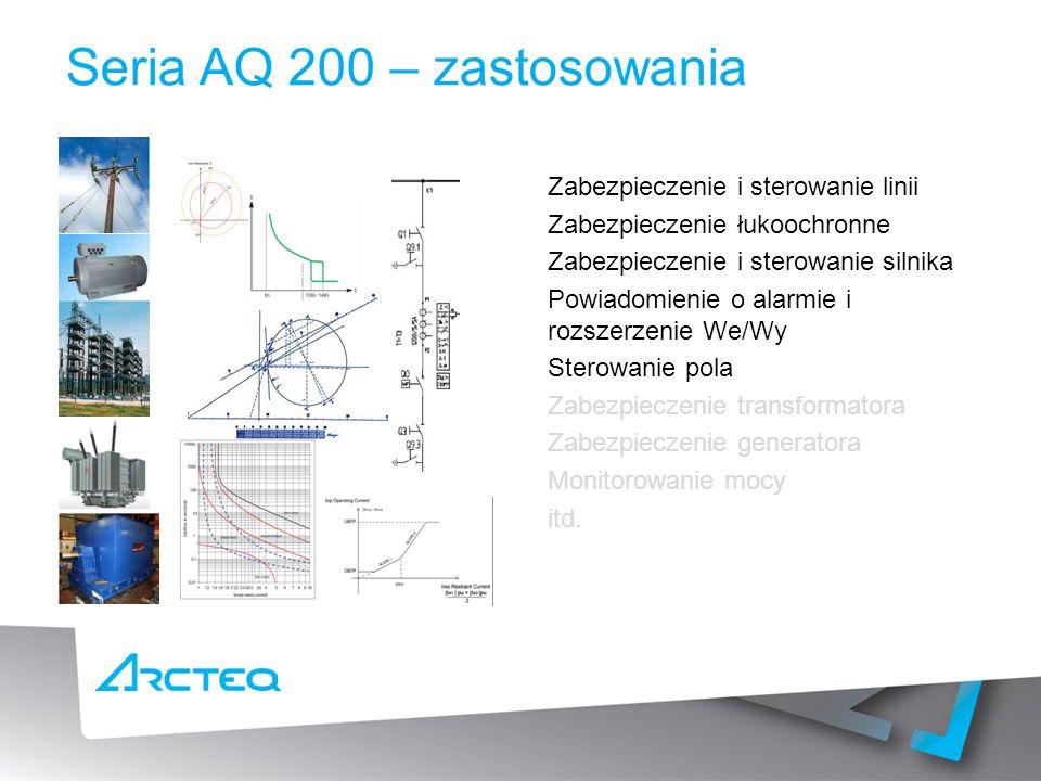 Seria AQ 200 – zastosowania Zabezpieczenie i sterowanie linii Zabezpieczenie łukoochronne Zabezpieczenie i sterowanie silnika Powiadomienie o alarmie i rozszerzenie We/Wy Sterowanie pola Zabezpieczenie transformatora Zabezpieczenie generatora Monitorowanie mocy itd.