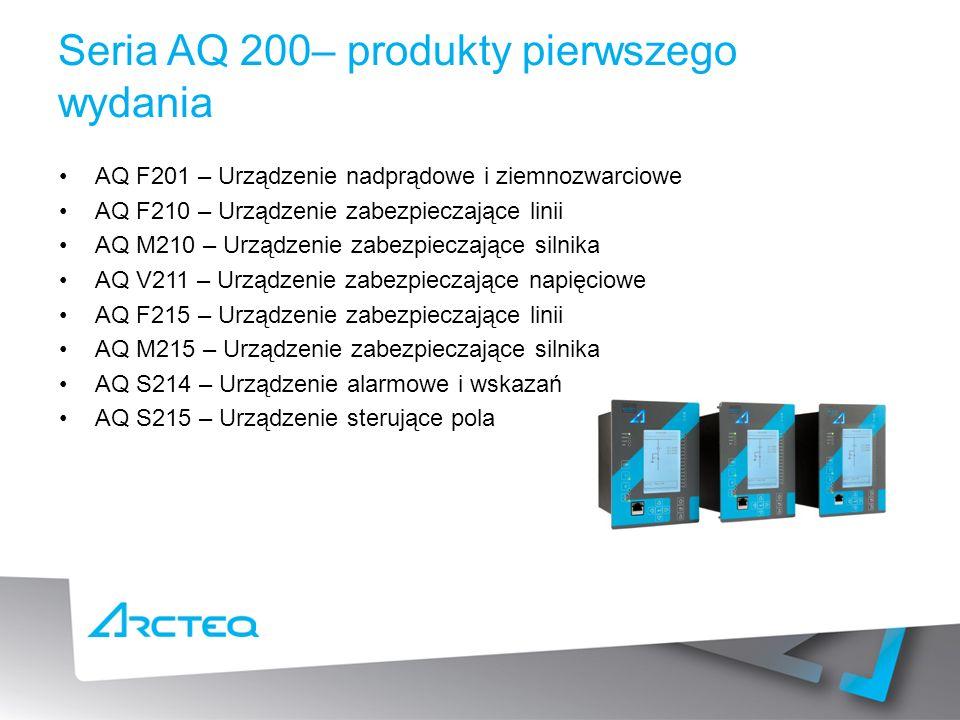 Seria AQ 200– produkty pierwszego wydania AQ F201 – Urządzenie nadprądowe i ziemnozwarciowe AQ F210 – Urządzenie zabezpieczające linii AQ M210 – Urządzenie zabezpieczające silnika AQ V211 – Urządzenie zabezpieczające napięciowe AQ F215 – Urządzenie zabezpieczające linii AQ M215 – Urządzenie zabezpieczające silnika AQ S214 – Urządzenie alarmowe i wskazań AQ S215 – Urządzenie sterujące pola