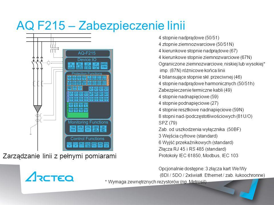 AQ F215 – Zabezpieczenie linii 4 stopnie nadprądowe (50/51) 4 ztopnie ziemnozwarciowe (50/51N) 4 kierunkowe stopnie nadprądowe (67) 4 kierunkowe stopnie ziemnozwarciowe (67N) Ograniczone ziemnozwarciowe, niskiej lub wysokiej* imp.