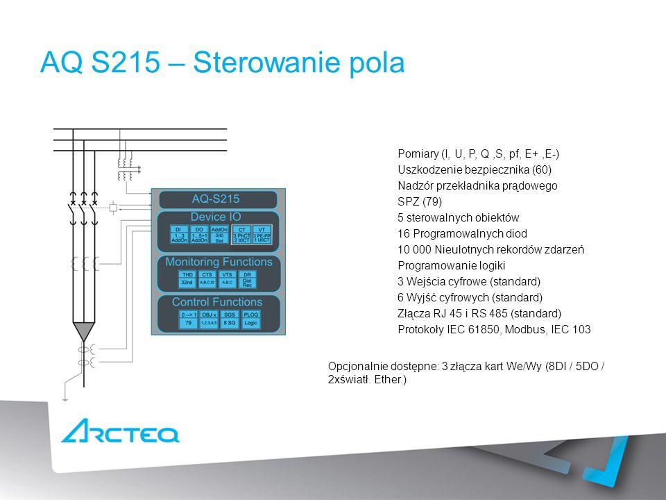 Pomiary (I, U, P, Q,S, pf, E+,E-) Uszkodzenie bezpiecznika (60) Nadzór przekładnika prądowego SPZ (79) 5 sterowalnych obiektów 16 Programowalnych diod 10 000 Nieulotnych rekordów zdarzeń Programowanie logiki 3 Wejścia cyfrowe (standard) 6 Wyjść cyfrowych (standard) Złącza RJ 45 i RS 485 (standard) Protokoły IEC 61850, Modbus, IEC 103 AQ S215 – Sterowanie pola Opcjonalnie dostępne: 3 złącza kart We/Wy (8DI / 5DO / 2xświatł.