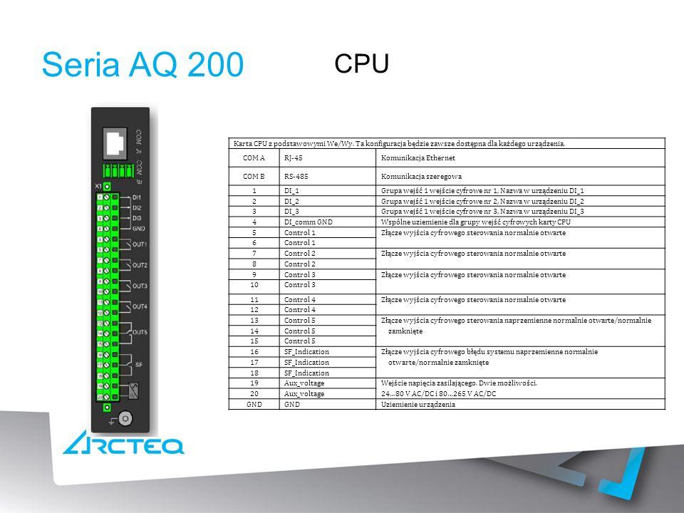 Seria AQ 200 Karta CPU z podstawowymi We/Wy.