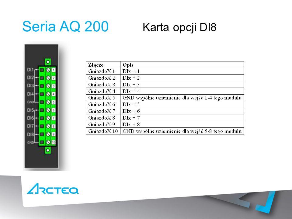 Seria AQ 200 Karta opcji DI8