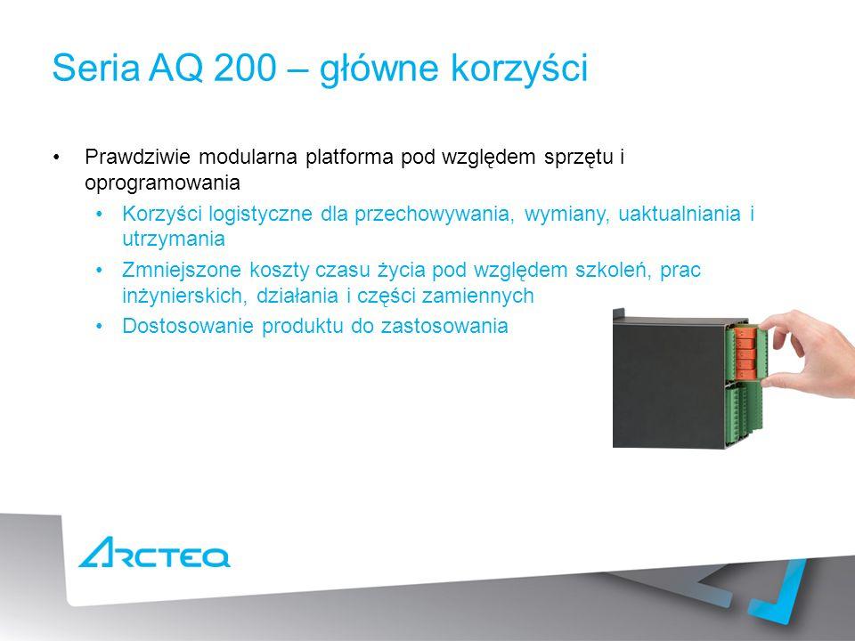Seria AQ 200 – główne korzyści Prawdziwie modularna platforma pod względem sprzętu i oprogramowania Korzyści logistyczne dla przechowywania, wymiany, uaktualniania i utrzymania Zmniejszone koszty czasu życia pod względem szkoleń, prac inżynierskich, działania i części zamiennych Dostosowanie produktu do zastosowania