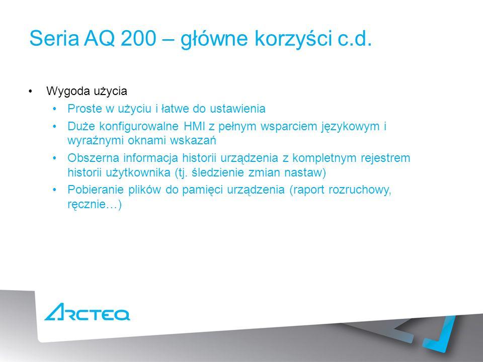 Seria AQ 200 – główne korzyści c.d.