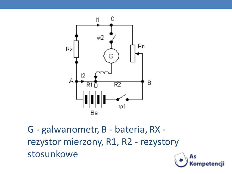G - galwanometr, B - bateria, RX - rezystor mierzony, R1, R2 - rezystory stosunkowe