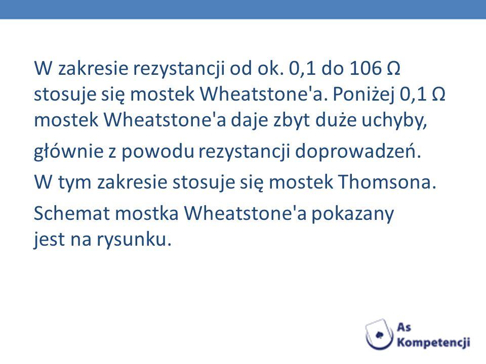 W zakresie rezystancji od ok. 0,1 do 106 Ω stosuje się mostek Wheatstone'a. Poniżej 0,1 Ω mostek Wheatstone'a daje zbyt duże uchyby, głównie z powodu
