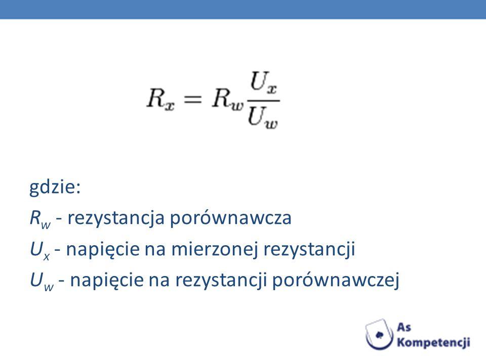 gdzie: R w - rezystancja porównawcza U x - napięcie na mierzonej rezystancji U w - napięcie na rezystancji porównawczej