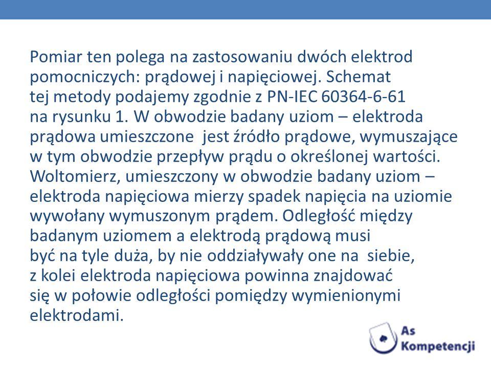 Pomiar ten polega na zastosowaniu dwóch elektrod pomocniczych: prądowej i napięciowej. Schemat tej metody podajemy zgodnie z PN-IEC 60364-6-61 na rysu