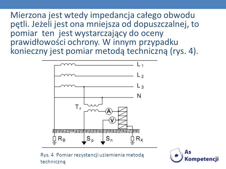 Mierzona jest wtedy impedancja całego obwodu pętli. Jeżeli jest ona mniejsza od dopuszczalnej, to pomiar ten jest wystarczający do oceny prawidłowości