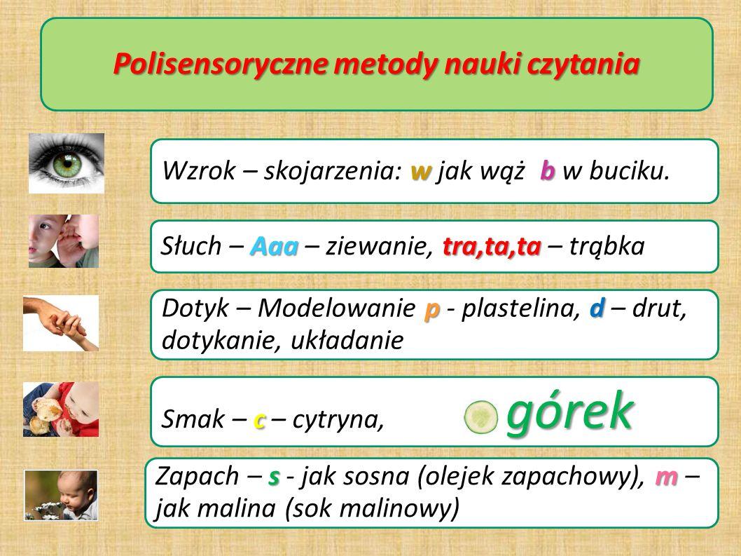 Polisensoryczne metody nauki czytania wb Wzrok – skojarzenia: w jak wąż, b w buciku. Aaatra,ta,ta Słuch – Aaa – ziewanie, tra,ta,ta – trąbka pd Dotyk