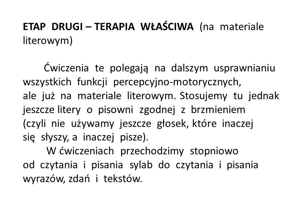 ETAP TRZECI – DOSKONALENIE UMIEJĘTNOŚCI CZYTANIA I PISANIA Etap ten uwzględnia dalsze prowadzenie ćwiczeń korekcyjno- kompensacyjnych na materiale literowym, ale z uwzględnieniem zasad ortografii.