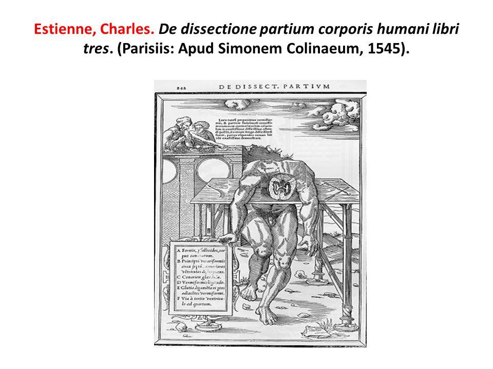 Estienne, Charles. De dissectione partium corporis humani libri tres. (Parisiis: Apud Simonem Colinaeum, 1545).