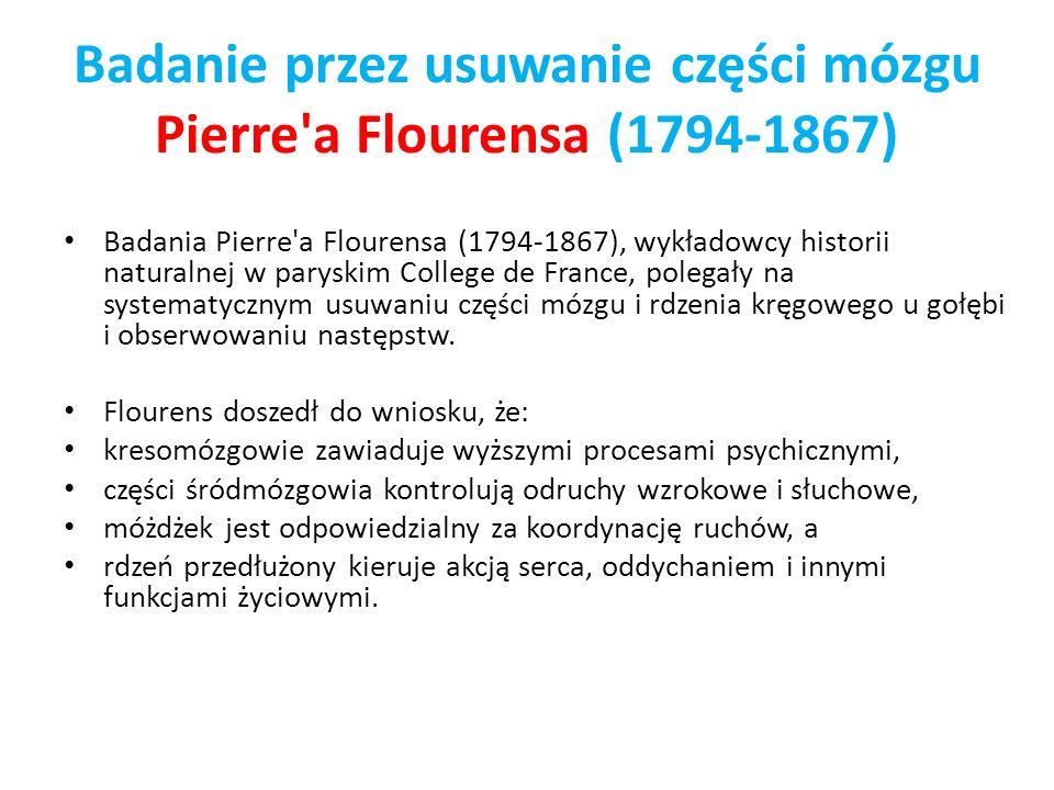 Badanie przez usuwanie części mózgu Pierre'a Flourensa (1794-1867) Badania Pierre'a Flourensa (1794-1867), wykładowcy historii naturalnej w paryskim C