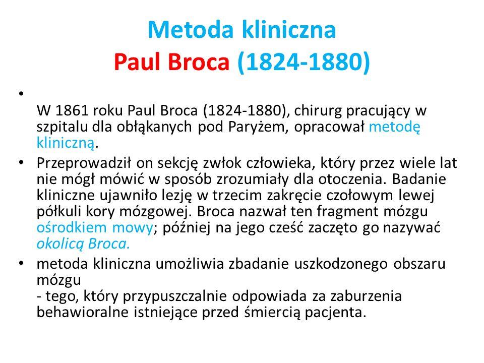 Metoda kliniczna Paul Broca (1824-1880) W 1861 roku Paul Broca (1824-1880), chirurg pracujący w szpitalu dla obłąkanych pod Paryżem, opracował metodę