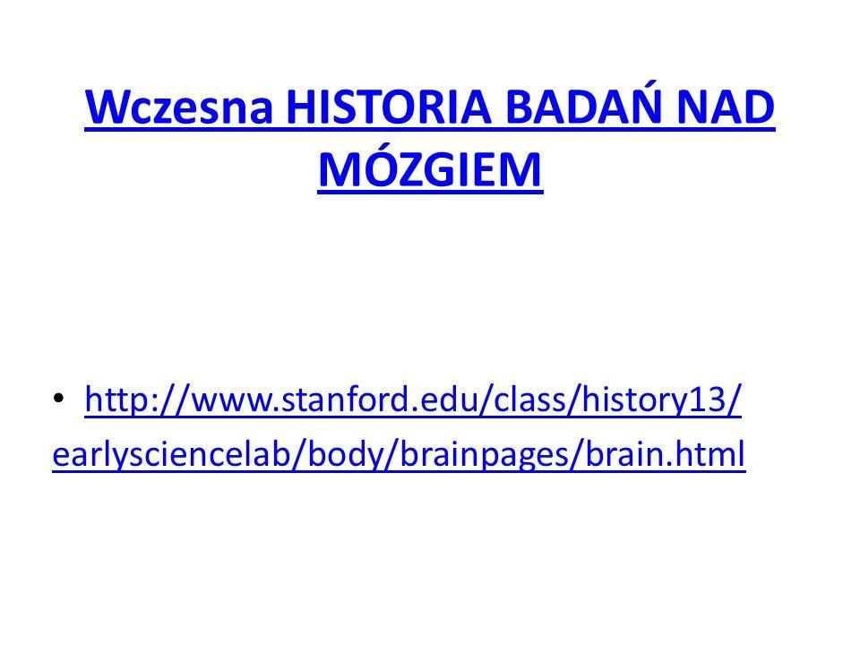 Wczesna HISTORIA BADAŃ NAD MÓZGIEM http://www.stanford.edu/class/history13/ earlysciencelab/body/brainpages/brain.html