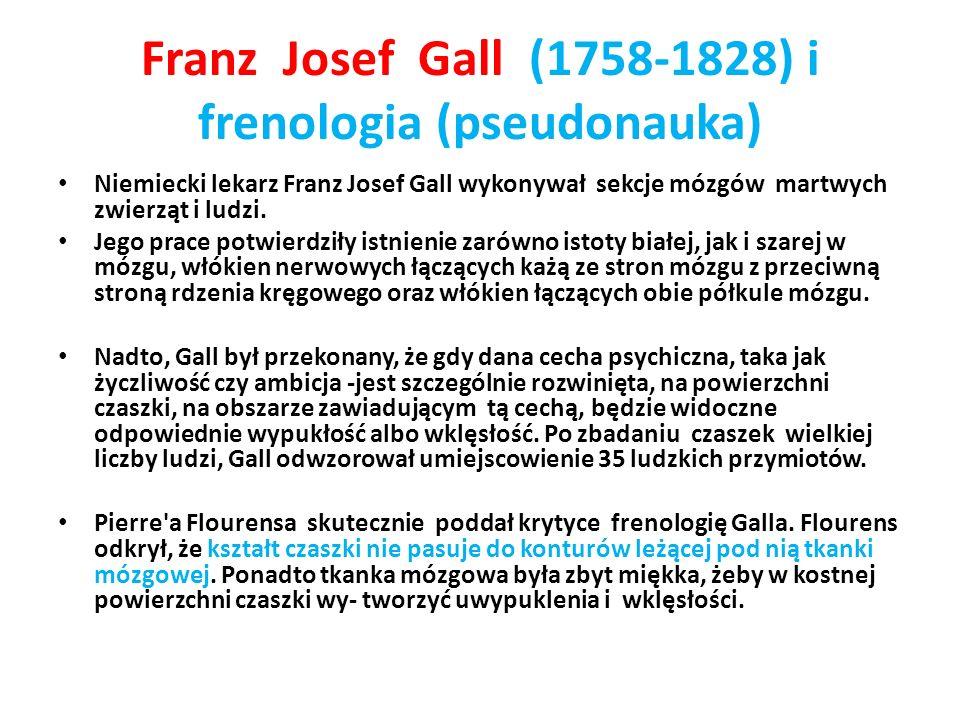 Franz Josef Gall (1758-1828) i frenologia (pseudonauka) Niemiecki lekarz Franz Josef Gall wykonywał sekcje mózgów martwych zwierząt i ludzi. Jego prac