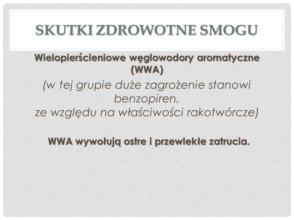 SKUTKI ZDROWOTNE SMOGU Wielopierścieniowe węglowodory aromatyczne (WWA) (w tej grupie duże zagrożenie stanowi benzopiren, ze względu na właściwości ra