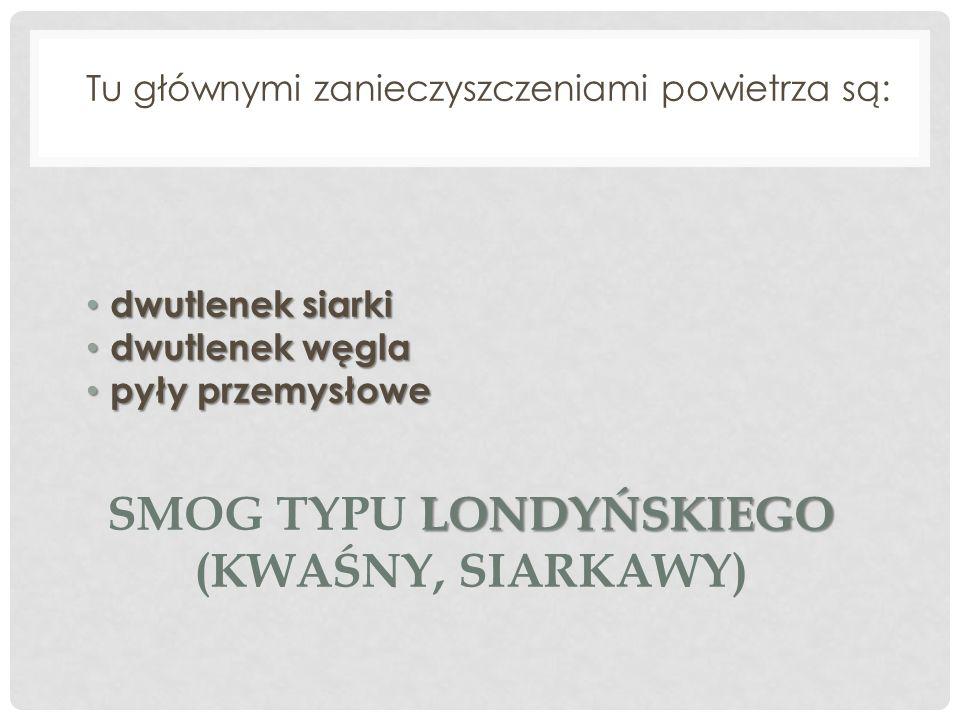 W Krakowie występuje smog kwaśny smog kwaśny (typu londyńskiego)