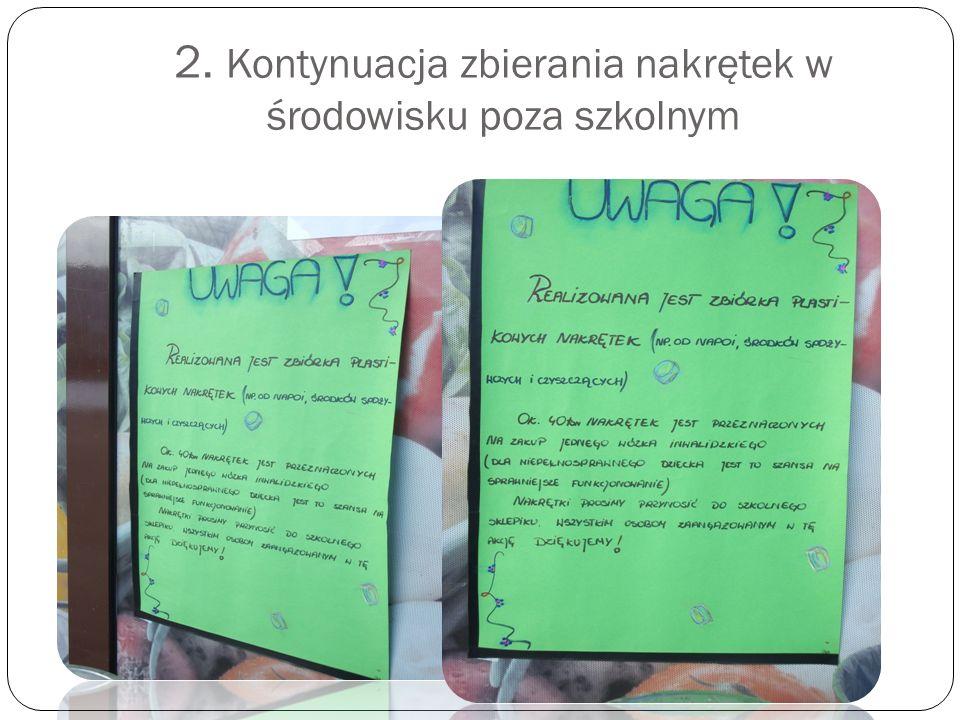 2. Kontynuacja zbierania nakrętek w środowisku poza szkolnym