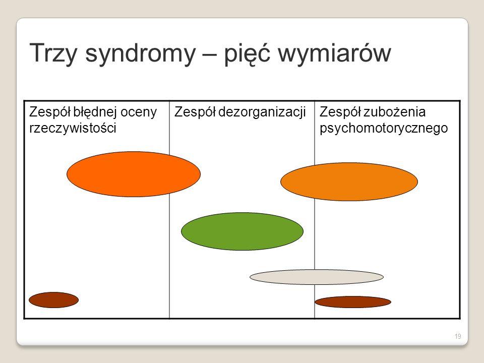 18 Schizofrenia - trzy zespoły Zespół błędnej oceny rzeczywistości (objawy pozytywne): urojenia i omamy Zespół objawów deficytowych (objawy negatywne): ubóstwo mowy, spłaszczenie afektu,zubożenie psychomotoryczne, spadek inicjatywy Zespół dezorganizacji: objawy dezorganizacji myślenia, zdezorganizowane zachowanie Liddle(1987) APA (1997) Czernikiewicz (1999)