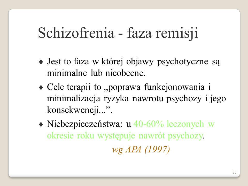 22 Schizofrenia - faza stabilizacji Jest to faza obejmująca pierwszych 6 miesięcy (lub więcej) od początku epizodu psychotycznego, w czasie której dochodzi do stopniowej redukcji objawów ostrych.