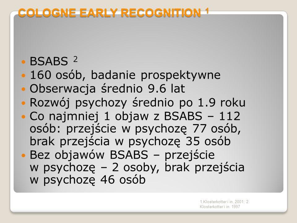 3 CZYNNIKI RYZYKA TYPU STAN I CECHA Osobowość schizotypowa lub krewny pierwszego stopnia z psychozą Znaczące pogorszenie funkcjonowania psychicznego w okresie tydzień-5 lat Stwierdzenie pogorszenia funkcjonowania w ciągu ostatniego roku