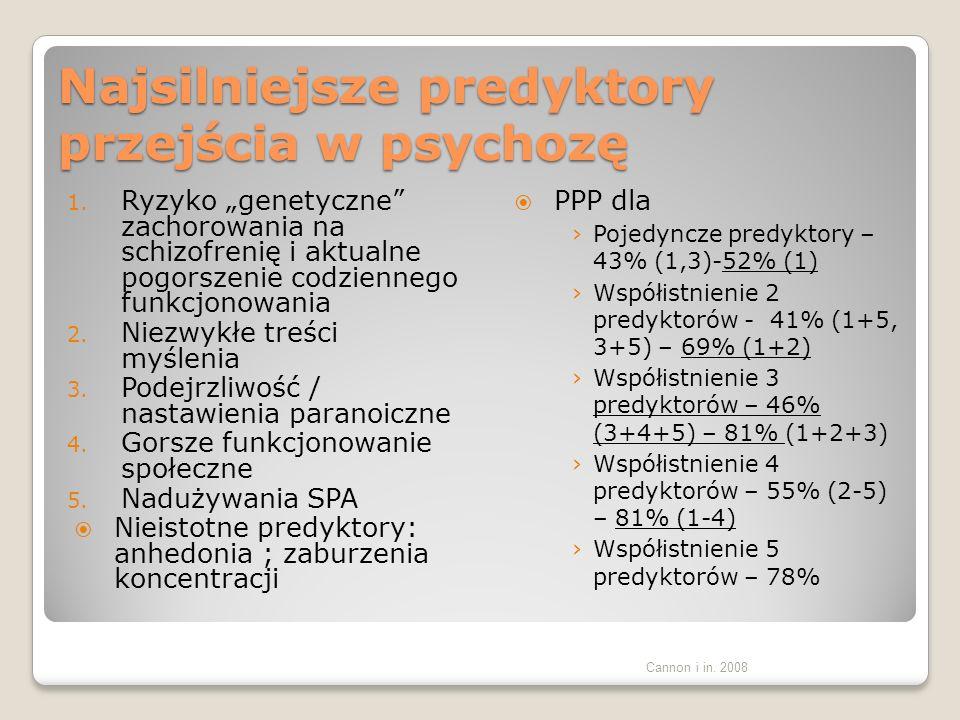 COLOGNE EARLY RECOGNITION 1 BSABS 2 160 osób, badanie prospektywne Obserwacja średnio 9.6 lat Rozwój psychozy średnio po 1.9 roku Co najmniej 1 objaw z BSABS – 112 osób: przejście w psychozę 77 osób, brak przejścia w psychozę 35 osób Bez objawów BSABS – przejście w psychozę – 2 osoby, brak przejścia w psychozę 46 osób 1.Klosterkotter i in.