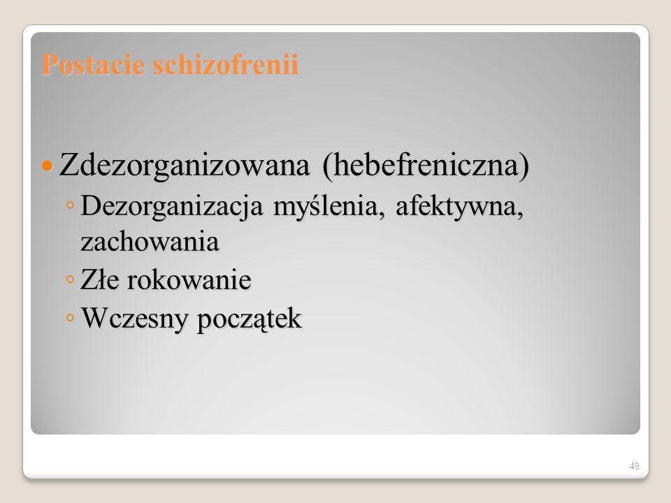 Postacie schizofrenii katatoniczna katatoniczna Zaburzenia zachowania ruchowego Zaburzenia zachowania ruchowego Postać hipokinetyczna Postać hipokinetyczna Postać hiperkinetyczna Postać hiperkinetyczna 48