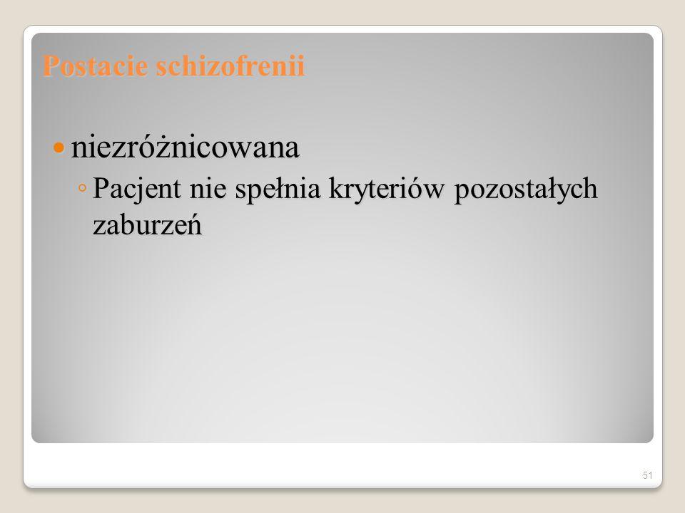 Schizofrenia prosta Tylko objawy osiowe (negatywne) Brak (epizodyczne) objawy dodatkowe (pozytywne) 50