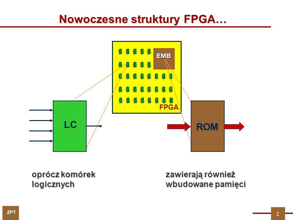 EMB Nowoczesne struktury FPGA… LC ROM oprócz komórek logicznych zawierają również wbudowane pamięci 2