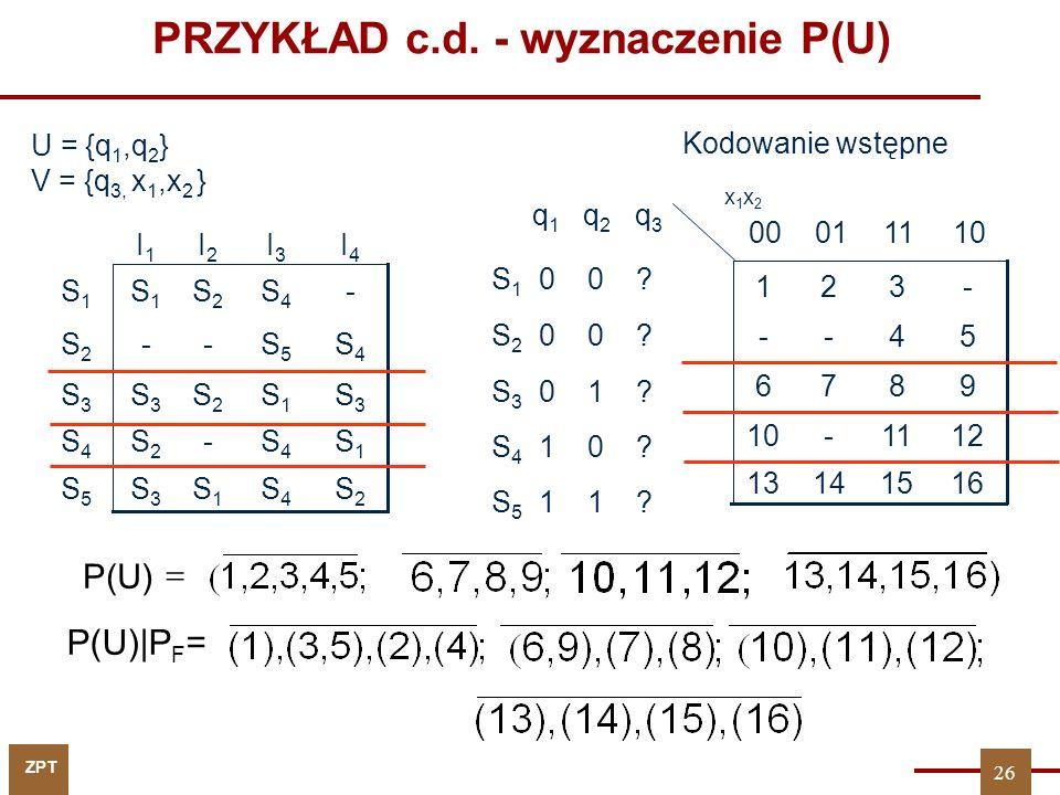 ZPT PRZYKŁAD c.d. - wyznaczenie P(U) q 1 q 2 q 3 S 1 0 0 ? S 2 0 0 ? S 3 0 1 ? S 4 1 0 ? S 5 1 1 ? 16151413 1211-10 9876 54-- -321 110100 x1x2x1x2 U =