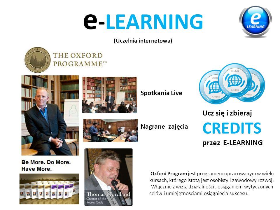 e -LEARNING (Uczelnia internetowa) Spotkania Live Nagrane zajęcia Oxford Program jest programem opracowanym w wielu kursach, którego istotą jest osobisty i zawodowy rozwój.