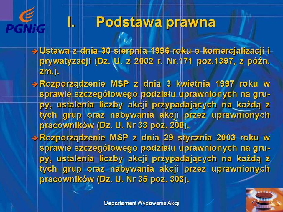 Departament Wydawania Akcji 4 II.Osoby uprawnione do nieodpłatnego nabycia akcji a)osoby będące w dniu wykreślenia z rejestru komercjalizowa- nego przedsiębiorstwa państwowego pod nazwą Polskie Górnictwo Naftowe i Gazownictwo, tj.