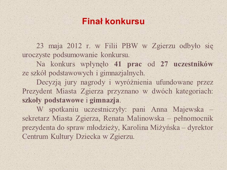 Finał konkursu 23 maja 2012 r. w Filii PBW w Zgierzu odbyło się uroczyste podsumowanie konkursu. Na konkurs wpłynęło 41 prac od 27 uczestników ze szkó